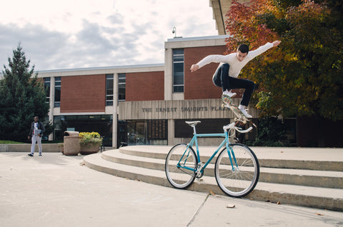 Skateboarder Fixed Gear Tricks