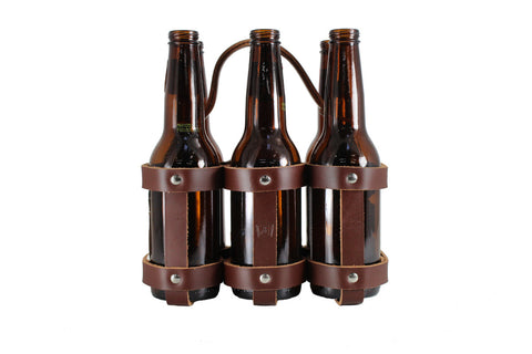 Leather Six Pack Carrier (Non Bicycle)