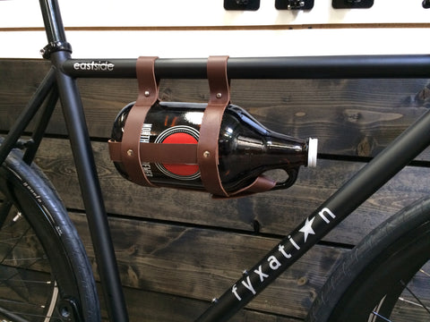 Leather Bicycle Growler Caddy