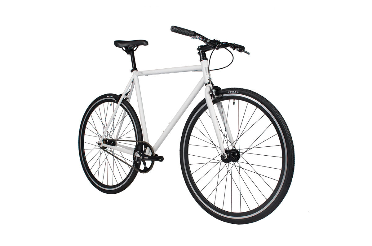 white fixed gear  single speed bicycle