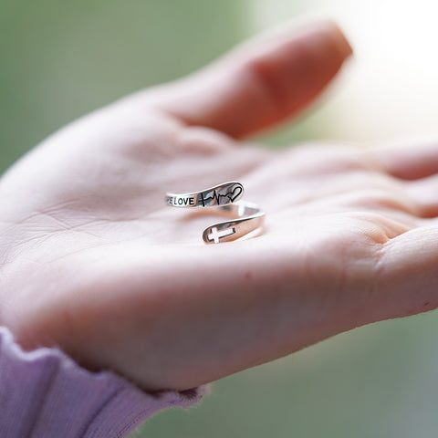 Sterling Silver Faith Hope Love Ring