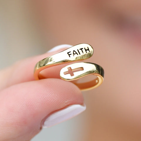 Gold Plated Faith Ring