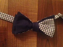 Three Way Navy/Gingham Bro Tie - Three Brothers Clothing