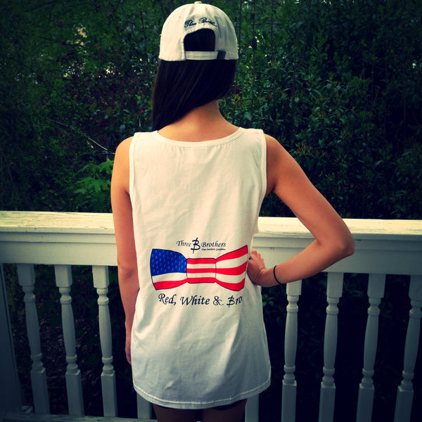 Ladies Red White & Bros Tank - Three Brothers Clothing