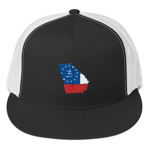 Ga State Trucker Cap Red White Blue - Three Brothers Clothing