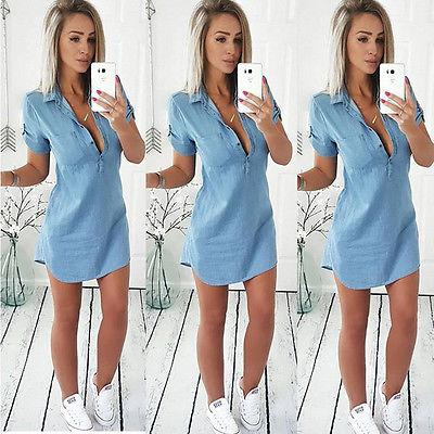 short sleeves Casual  Jeans Dress