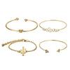 4pcs/1set Gold Color Cactus Letter Knot Bracelet Bohemian