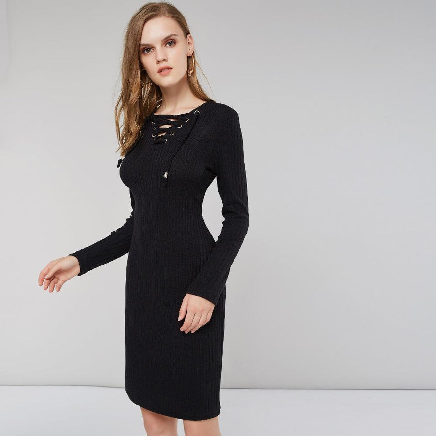 Front Tie Bodycon Sweater Dress