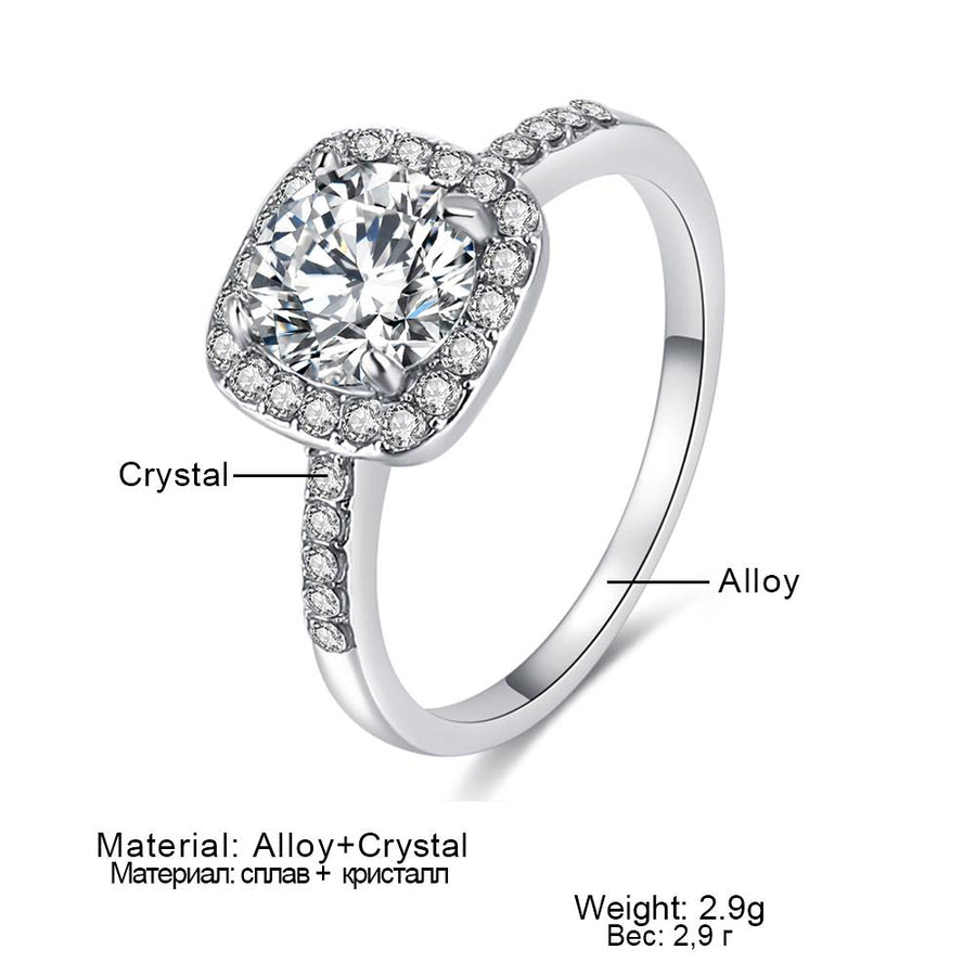 Big Cubic Zirconia Ring Fashion Wedding Jewelry