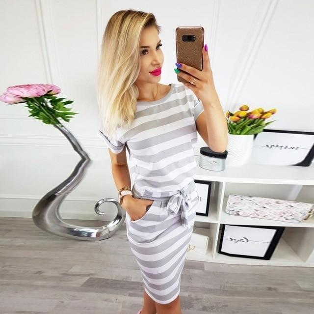 sexy bodycon vestidos striped short sleeve slim  10 colors high quality