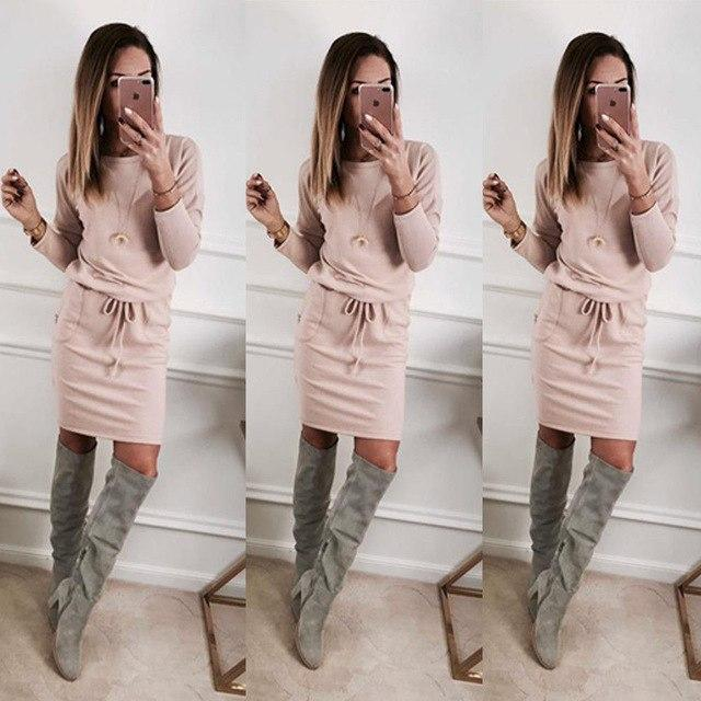Slim Fit Solid Color Lace-up Dress