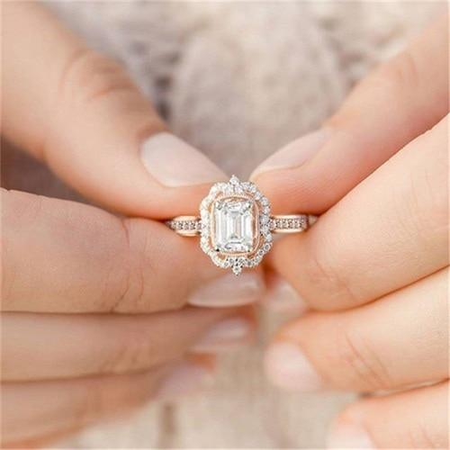 Diamond Vintage Engagement Ring Rose Gold Zircon Ring