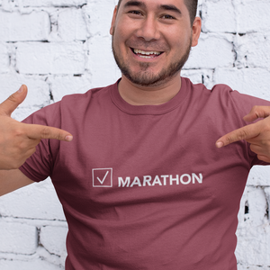 "T-shirt with a checked box next to the word ""Marathon."" In the ""Been There, Done That"" collection."