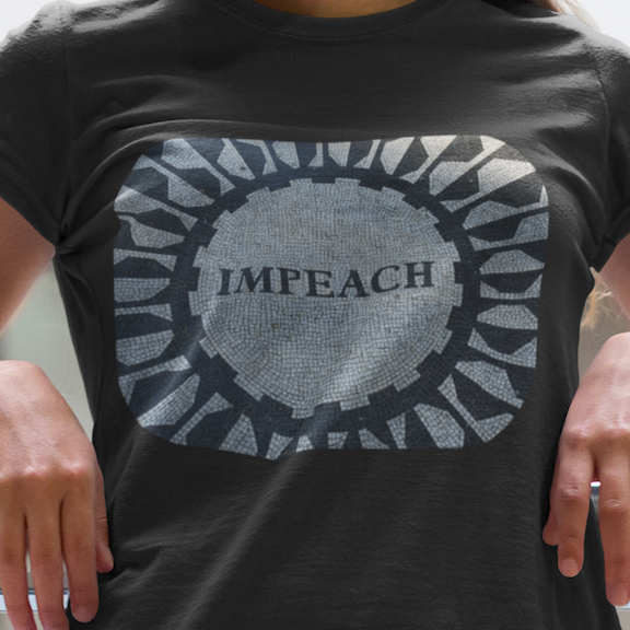 "T-shirt for impeachment is a lookalike of the ""Imagine"" mosaic in Central Park's Strawberry Fields."