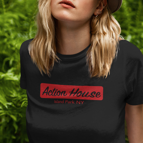 Action House women's t-shirt. Old Long Island Rock & Roll club.