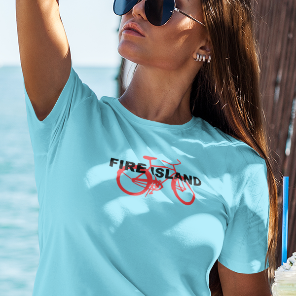 Fire Island and bicycle women's t-shirt
