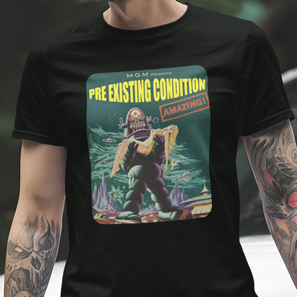 Pre Existing Condition mock space-horror movie unisex t-shirt