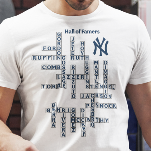 Yankee hall of famers crossword t-shirt