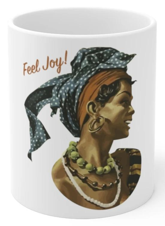 Feel joy smiling woman coffee cup