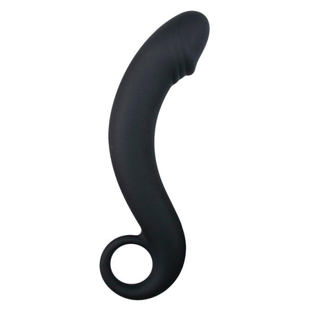 Curved Anal Dildo with Grip Ring 7 Inch