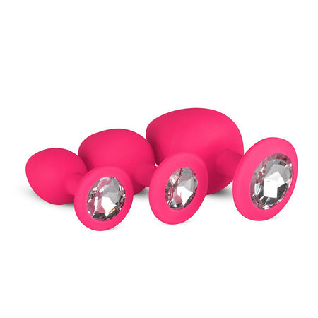 Rounded Silicone Butt Plug Beginner Set with Jewel Base