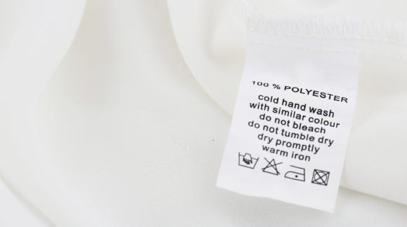 fabric polyester compositon care label