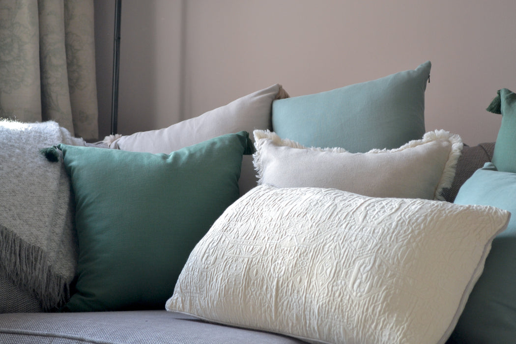 Dark Green Tencel Tassel Cushion