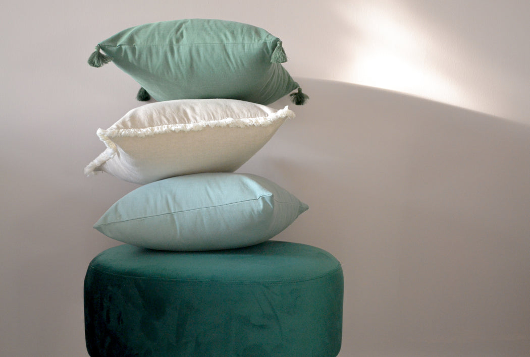 Sage Green Tencel Square Cushion