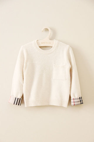 Checked Sleeve Sweater