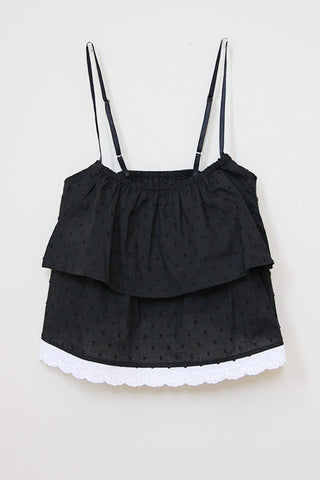 Snowflake String Top Black