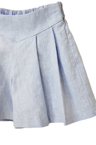 Pleated Skort Blue & Beige