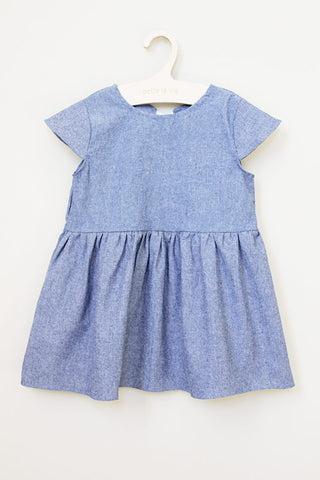 Back Ribbon Denim Dress