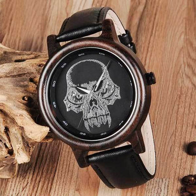 "Bamboo ""Horned Skull"" Mens Wristwatch"