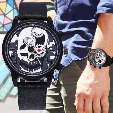 "Quartz ""See Thru Skull"" Mens Watch"