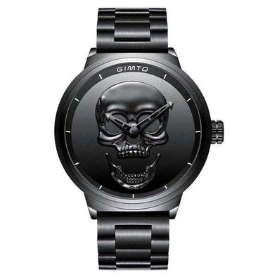 Military Steel 3D Skull Watch