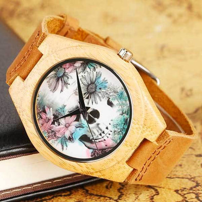 "Bamboo ""Flower Skull"" Womens Watch"