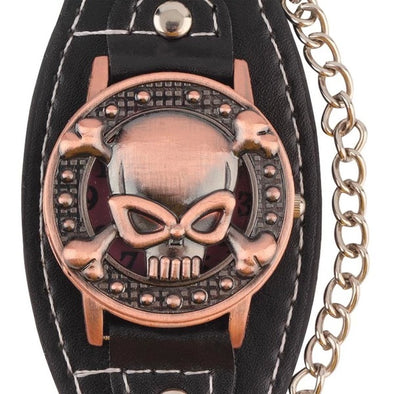 "QUARTZ ""SKULL BIKER"" WATCH W/ LEATHER BRACELET STRAP"