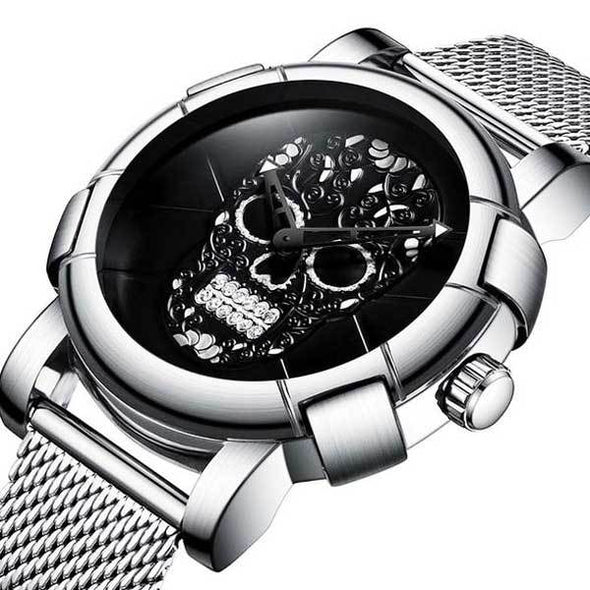 Military Steel 3D Skull Watch (new colors!)