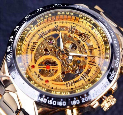 "Luxury Gold ""Skeleton"" See Thru Wrist Watch"