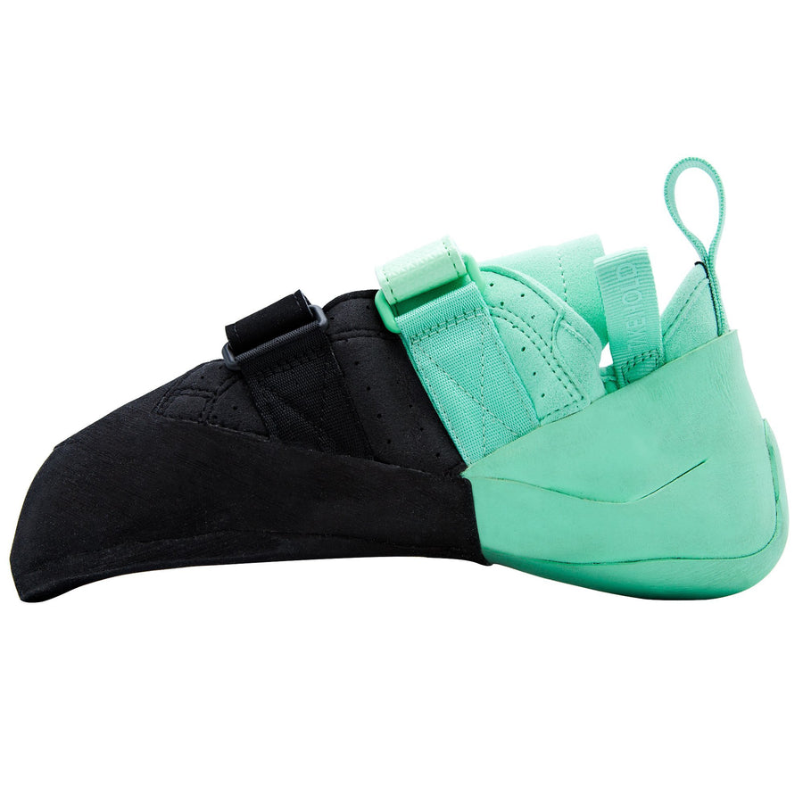 So iLL Street LV (Low Volume) Women's Rock Climbing Shoe in Black/Seafoam – Side View