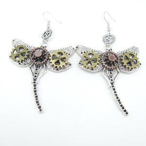 Steampunk Dragonfly Drop Earrings