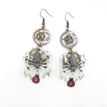 Load image into Gallery viewer, Steampunk Spider & Ladybird Drop Earrings