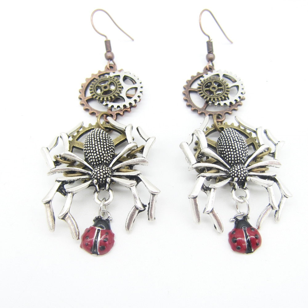Steampunk Spider & Ladybird Drop Earrings