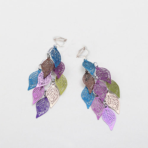 Multi-Color Leaf Drop Clip On Earrings