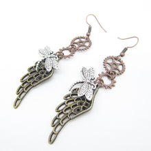 Load image into Gallery viewer, Steampunk Wings & Dragonfly Earrings
