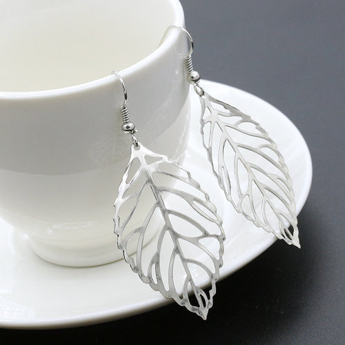 Silver Hollow Leaves Drop Earrings