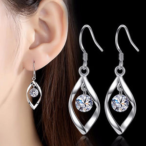 Luxury 925 Silver Crystal Earrings