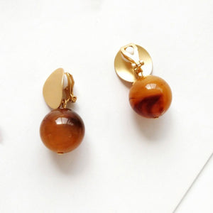 Marble Effect Ball Clip On Earrings