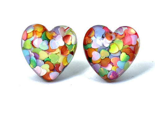 Multi-Color Heart In Hearts Clip On Earrings