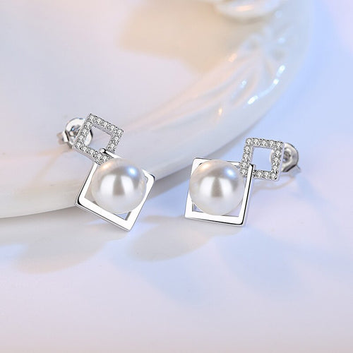 925 Sterling Silver White Faux Pearl Earrings